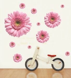 Large-PINK-Gerbera-Flowers-Reusable-Art-Decor-Wall-Stickers