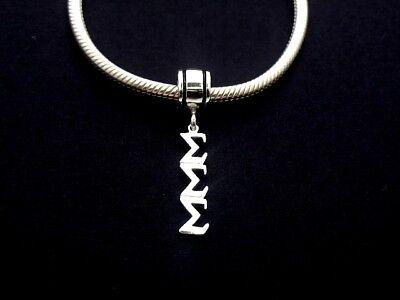TRI SIGMA SIGMA SIGMA Dangle Greek Sorority European Big Hole Bead Silver #B2280