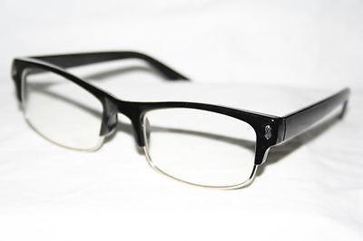 Nerd Clear Glasses Graphic Geek Shades Wayfarer small frame black  silver 13