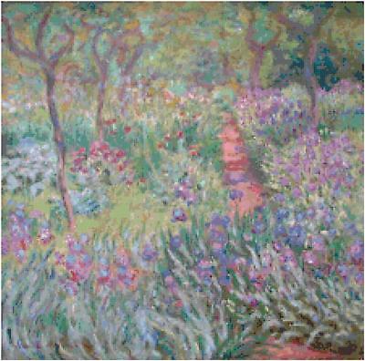 Monet Artist's Garden Counted Cross Stitch Pattern Art