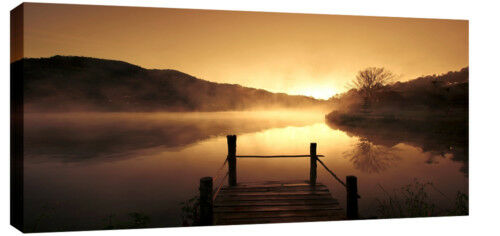 """X Large Misty Lake Canvas Art Picture Landscape 42""""x20"""""""