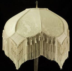 stunning vintage look victorian lampshade ivory damask. Black Bedroom Furniture Sets. Home Design Ideas
