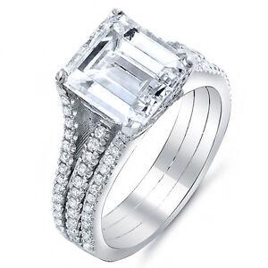3 25 ct emerald cut engagement split shank ring