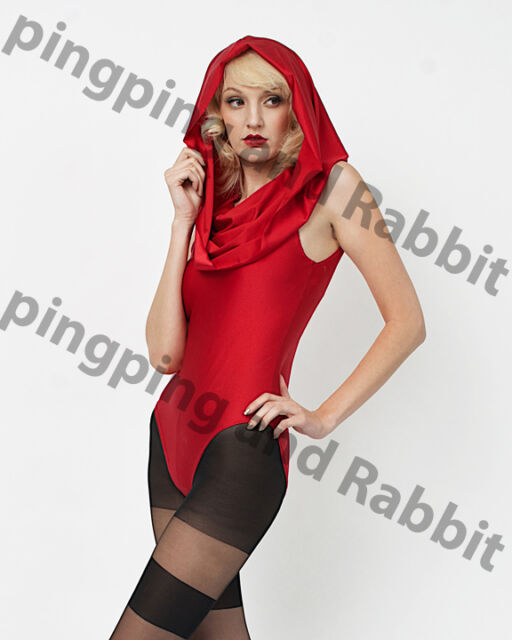 Hooded Bodysuit Catsuit Jumpsuit Red Nylon Shiny Costume Little Red Riding Hood