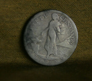 50-Centavos-1908-S-Philippines-Silver-World-Coin-Hammer-Anvil-Eagle-50-cents