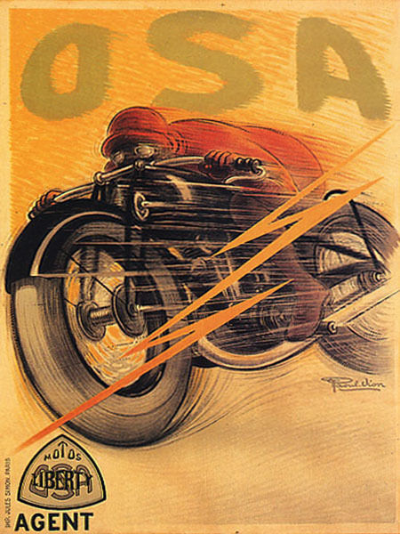 OSA LIBERTY MOTORCYCLES RACE BIKE SPEED FRENCH VINTAGE POSTER REPRO