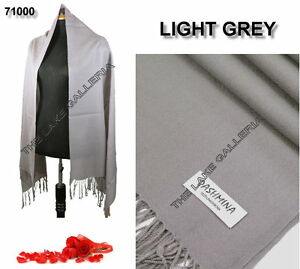Light-Gray-Classic-Soft-100-Real-Pashmina-Cashmere-Wool-Shawl-Wrap-Scarf-Plain