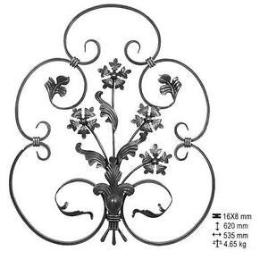 grille pour d coration compos de fleurs et feuilles fer forg ferronnerie ebay. Black Bedroom Furniture Sets. Home Design Ideas