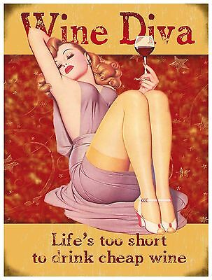 WINE DIVA VINTAGE RETRO 50S DINER CAFE KITCHEN NEW LARGE METAL WALL SIGN PLAQUE