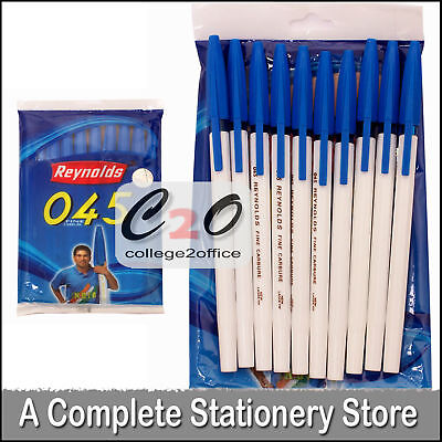 10 x REYNOLDS 0.45 mm Smooth Ball Point Pens BLUE INK