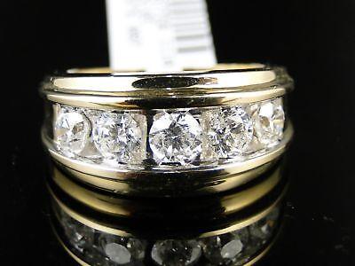 14K Mens Yellow Gold Diamond Wedding Band Ring 2.0 Ct
