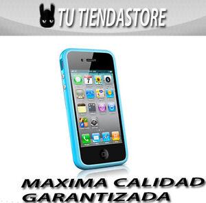 Carcasa-funda-BUMPER-compatible-IPHONE-4-azul-BOTONES-METALICOS