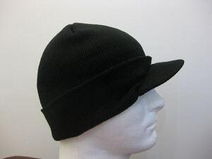 BLACK-WINTER-BEANIE-KNIT-SKI-VISOR-HAT-CAP-NAVY-BLUE-or-CAMO-CAMOUFLAGE