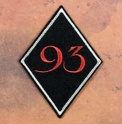 "Embroidered 93 Patch - Sew or Iron On 3 x 2.25"" Black Felt Thelema Crowley Agape"