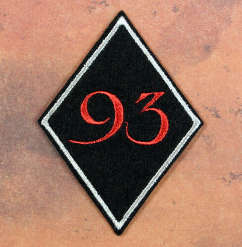 """Embroidered 93 Patch - Sew or Iron On 3 x 2.25"""" Black Felt Thelema Crowley Agape"""