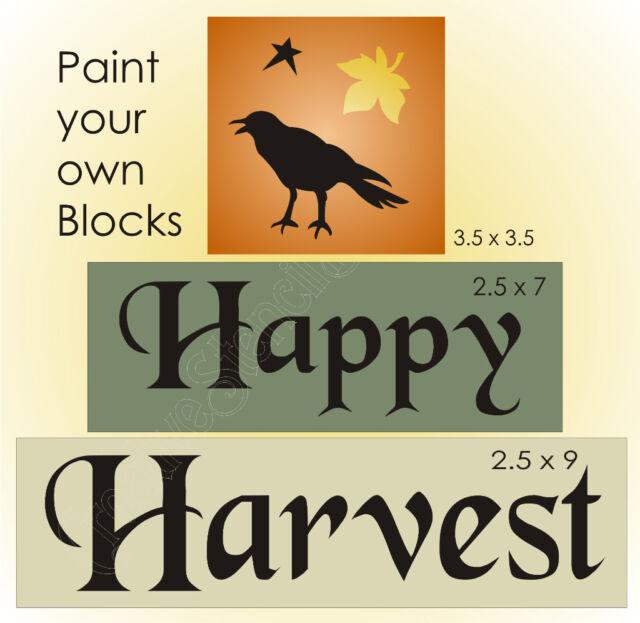 Happy Harvest Primitive STENCIL Autumn Crow Fall Leaf craft Sign Blocks U Paint