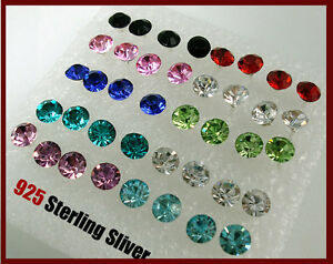 40PCS-X-Crystal-Earring-Stud-Wholesale-Mixed-Color-Wholesale-925-Sterling-Silver
