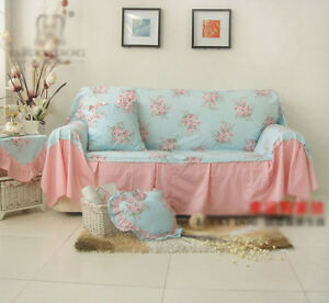 Shabby-Chic-Cottage-Floral-Sofa-Couch-Cover-Pleats-3-Seater-Blue-and ...