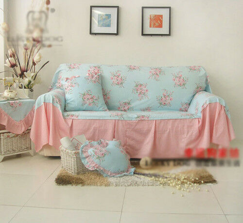 Shabby Chic Cottage Floral Sofa Couch Cover Pleats 2 Seater Blue And Pink