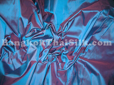 BLUE RED TINT 100% PURE SILK HAND LOOM FABRIC CURTAIN DRESS BLOUSE SKIRT
