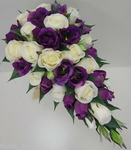 Image Is Loading WEDDING BOUQUET FLOWERS BOUQUETS SILK WHITE PURPLE ROSES