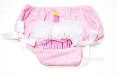 Pink Pantie Bloomer Birthday Cake Print White Roses For Newborn Baby Girl 6m-3Y