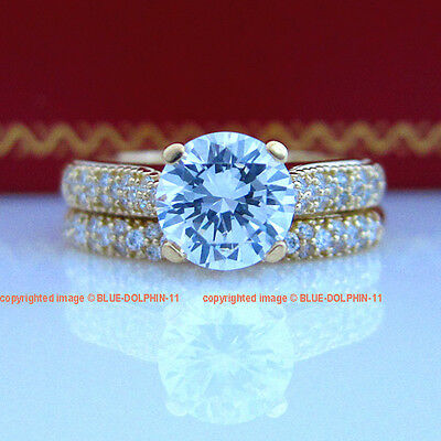 Genuine Real Solid 9K Yellow Gold Engagement Wedding Rings Set Simulated Diamond