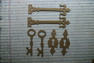 6 Bare chipboard Key, Keyhole,Hinge diecuts 2 of each