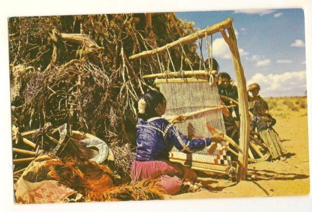 Native American Indian Navajo Weaver 1950 Arizona Postcard