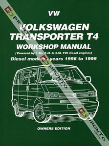 NEW-WORKSHOP-REPAIR-MANUAL-VOLKSWAGEN-TRANSPORTER-VW-KOMBI-VAN-T4-DIESEL-96-99