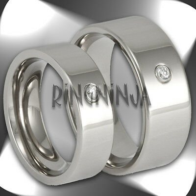 His and Her Titanium Wedding Bands CZ Pipe Cut Rings Mens & Womens Matching Set