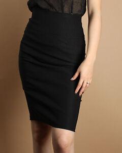 MOGAN-Slim-High-Waist-Pencil-Stretch-Knee-Skirt-Black