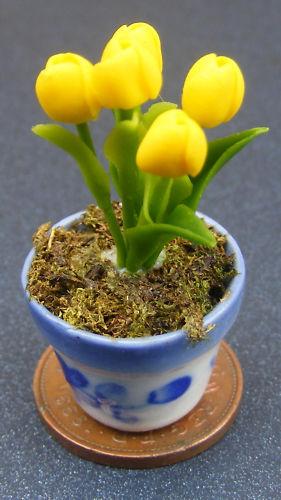 1:12 Scale Bunch Of Tulip Flowers In Ceramic Pot Tumdee Dolls House Miniature ML