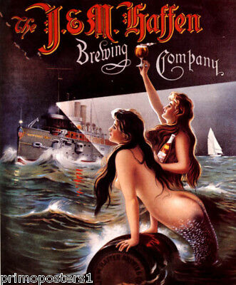 J&M HAFFEN BREWING COMPANY BEER MERMAIDS SHIP BRONX VINTAGE POSTER REPRO
