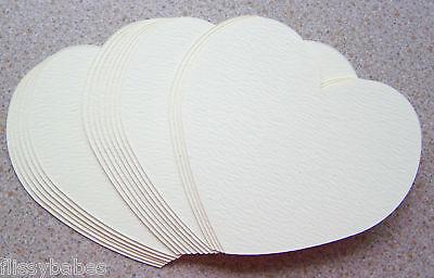 "20 Large Heart Cutouts  4"" x 4"" Cream Textured Card NEW"