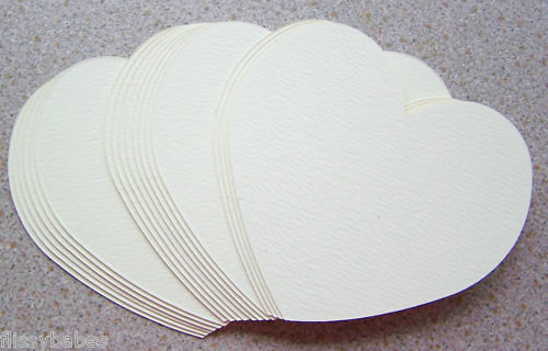 "20 Large Heart Cutouts  4"" x 4"" Cream Textured Card NEW"