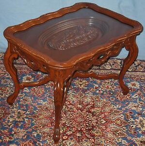 VINTAGE-SOLID-WALNUT-SOFA-COFFEE-END-OCCASIONAL-TABLE-CARVED-NUDE-FEMALE-TRAY