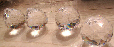 4 LARGE ALL CRYSTAL PRISM FACETED 30% LEAD- CUT 40MM BALLS free shipping