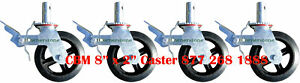 Four-New-Scaffolding-8-034-Rubber-Caster-Wheels-with-Double-Locks-CBM
