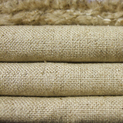 "LINEN COTTON 15oz HEAVY MUSLIN FABRIC FOR UPHOLSTERY CRAFT NATURAL OATMEAL 54""W"