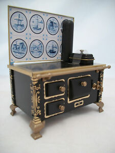 Delft Tile Kitchen Stove dollhouse miniature JS118918 1/12 Scale metal Germany
