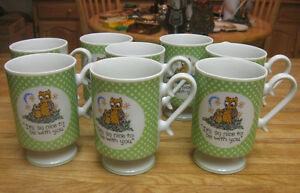 VTG 8 CERAMIC RETRO OWL CUPS SAY IT'S SO NICE TO BE WITH YOU 1970'S LOOK DECOR