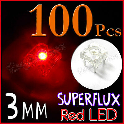 100 3mm Superflux Piranha Red LED 15000mcd Super flux