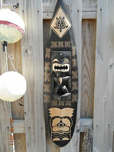 HUGE-HAND-CARVED-SURFBOARD-WITH-TIKI-GOD-39-034-BEER-GAME-ROOM-BEACH-HOUSE-PUB