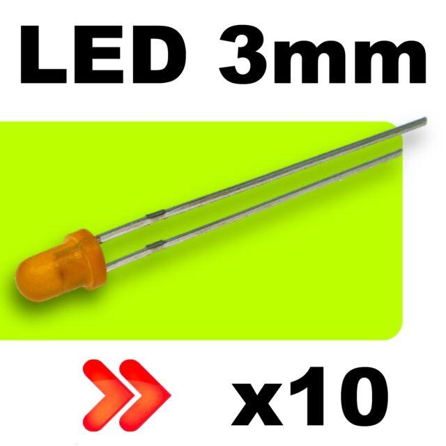 241/10# LED 3mm orange diffusant 10pcs + résistance