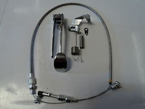 Chrome-Spoon-Gas-Pedal-Stainless-Throttle-Cable-Bracket-amp-Spring-Combo-Deal