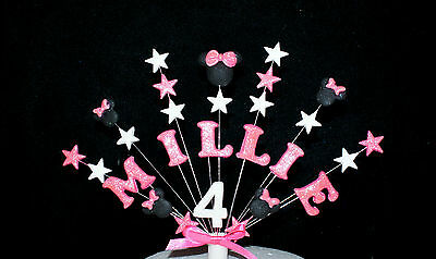 Minnie mouse custom birthday cake topper, personalised name, age cake decoration