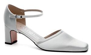 Señoras para mujer Blanco Satinado Wedding Bridal Dama Zapato todos los tamaños Campbell