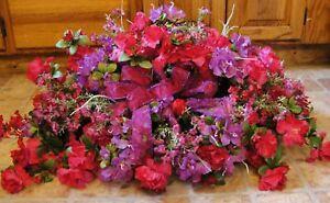 Silk-Memorial-Flowers-Violet-amp-Fuschia-Azaleas-Ground-Plaque-Mothers-Day-Grave