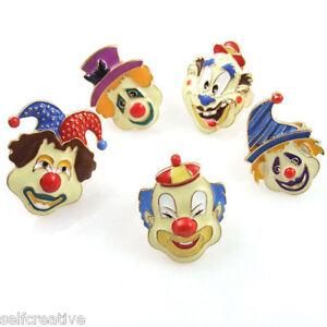 Gold tone circus clown face funny freak women finger ring size 6 uk m